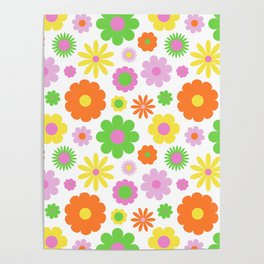 Vintage Daisy Crazy Floral Poster