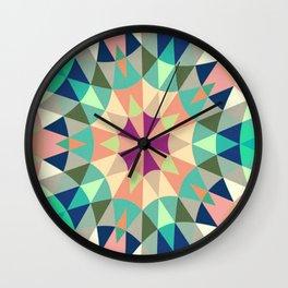 Retro Geometry Mandala Deep Pastels Wall Clock