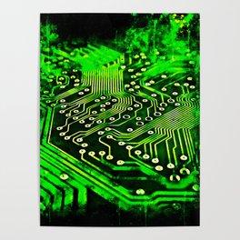 platine board conductor tracks splatter watercolor Poster