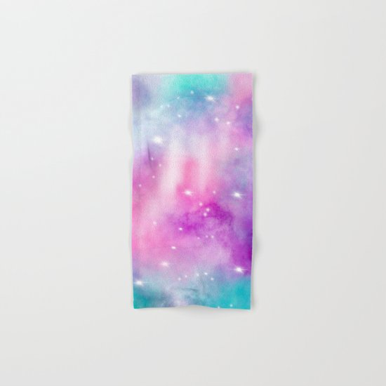 Trendy bright watercolor pastel nebula space hand painted Hand & Bath Towel