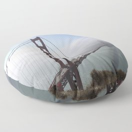Golden Gate Bridge On A Foggy Morning Floor Pillow