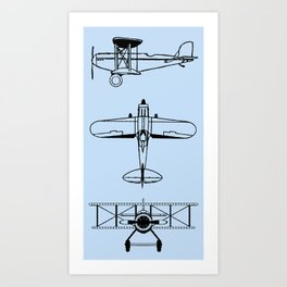 Biplanes // Light Blue Art Print