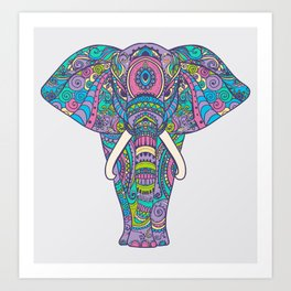 Elephant in Colors Art Print