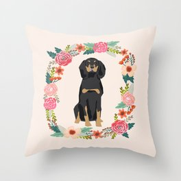 coonhound dog floral wreath dog gifts pet portraits Throw Pillow