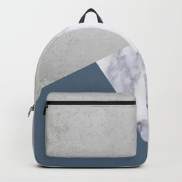 NAVY BLUE MARBLE GRAY GEOMETRIC Backpack