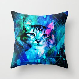 Kitty Cat Laser Lights at the Aleurorave Throw Pillow