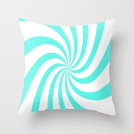Spiral (Turquoise & White Pattern) Throw Pillow