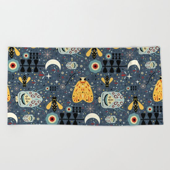Midnight Bugs  Beach Towel