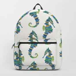 Seahorse – Watercolor & Gold Backpack