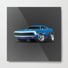 Classic Sixties Style American Muscle Car Hot Rod Cartoon Metal Print