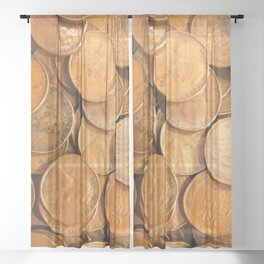Watercolor Coins, Lincoln Wheat Pennies, 1952 01 Sheer Curtain