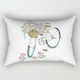 Vintage White Bicycle with English Roses Rectangular Pillow