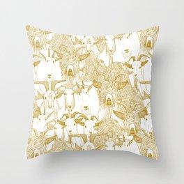 just goats gold Throw Pillow