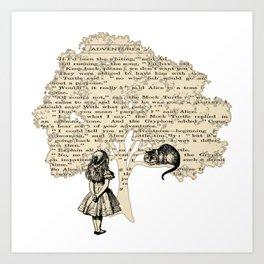 Alice In Wonderland Vintage Book Art Print
