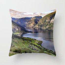 Aurlandsfjord Above Flåm - Norway Throw Pillow
