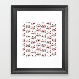 Cute cat pattern Framed Art Print