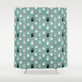 Seamless vector pattern with sheep and flowers Shower Curtain