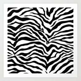 Zebra Print Black and White Art Print