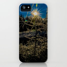 The sun melting ice off trees iPhone Case