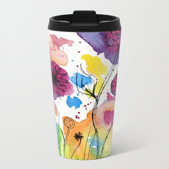 Flower Doodle 4 Metal Travel Mug