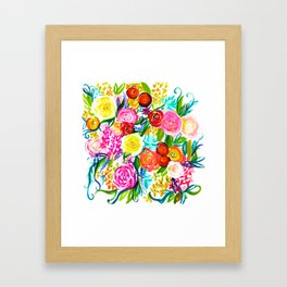 Bright Colorful Floral painting Framed Art Print