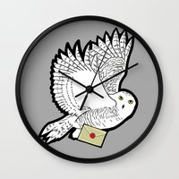 hedwig Wall Clocks featuring Hedwig by AriesNamarie