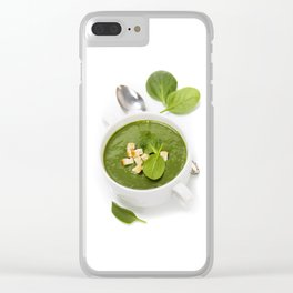 Traditional Spinach cream soup with croutons and fresh spinach leaf on top Clear iPhone Case