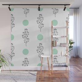 Black brunches & green dots pattern Wall Mural