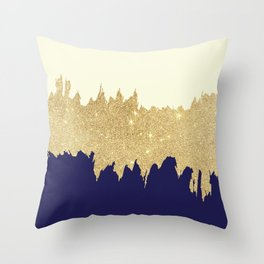 Navy blue ivory faux gold glitter brushstrokes Throw Pillow