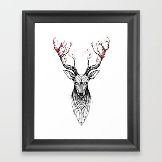 Deer tree (black stroke version for t-shirts) Framed Art Print