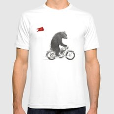 Motorcycle Bear White Mens Fitted Tee MEDIUM