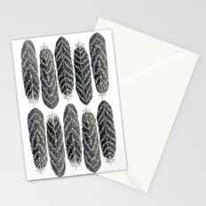Black Stripe Feathers Stationery Cards