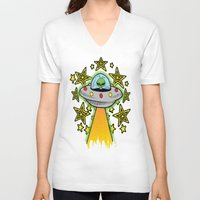 outer space V-neck T-shirts featuring OUTER SPACE by Amber's Realm