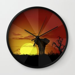Sunset and elefant Wall Clock