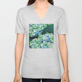 Fantasy Fairy Flowers in Blue with Green Accents Unisex V-Neck