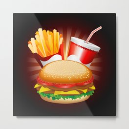 Fast Food Hamburger Fries and Drink Metal Print