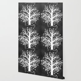 Family Tree Black and White Wallpaper