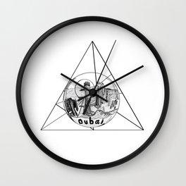 Graphic Geometric Shape Gray Dubai in a Bottle Wall Clock