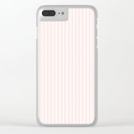 Classic Small Pink Rosebud Pastel Pink French Mattress Ticking Double Stripes Clear iPhone Case