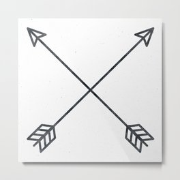 Black Arrows on White Paper Metal Print