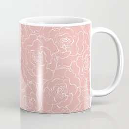 Large Rose lineart tile Coffee Mug