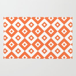 Diamond Check Pattern Orange Rug