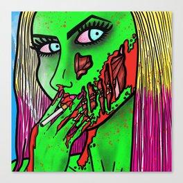 Smoking Hot Zombie Girl Canvas Print