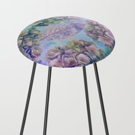 Watercolor hydrangeas and leaves Counter Stool