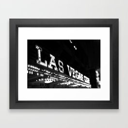 Vintage Las Vegas Sign - Black and White Photography Framed Art Print
