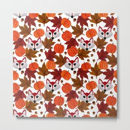 Cute Fall Fox Pumpkin Acorn Maple Leaf Watercolor Metal Print