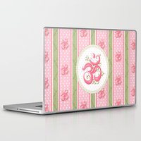 shabby chic Laptop & iPad Skins featuring Shabby Chic Om by Genie Wilson