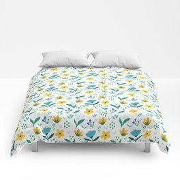 Summer flowers in yellow and blue in white background Comforters