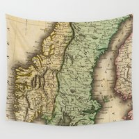sweden Wall Tapestries featuring Vintage Map of Norway and Sweden (1831) by BravuraMedia