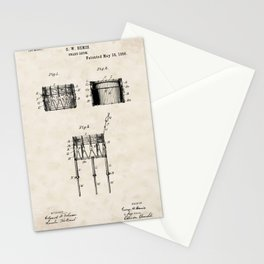 Drum Vintage Patent Hand Drawing Stationery Cards
